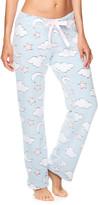Sleep & Co Women's Sleep Bottoms LTBLU - Light Blue Clouds Tie-Waist Plush Pajama Pants - Juniors