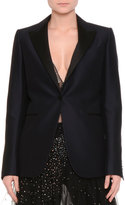 Valentino One-Button Tuxedo Jacket, Navy