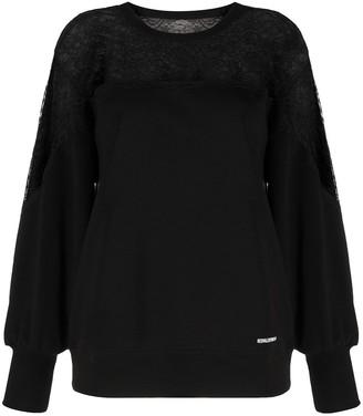 RED Valentino Lace Panel Cotton Sweatshirt
