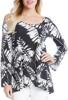 Karen Kane Cold Shoulder Palm Print Top