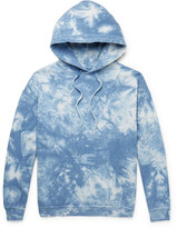 Beams Distressed Tie-dyed Loopback Cotton-jersey Hoodie - Blue