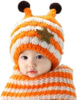 Joyhy Unisex Baby Cute Honeybee Earflap Knitted Hats Winter Beanie + Scarf