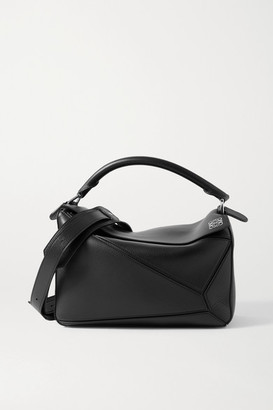 Loewe Puzzle Medium Smooth And Textured-leather Shoulder Bag - Black