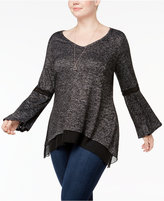 NY Collection Plus Size Chiffon-Trim Bell-Sleeve Top