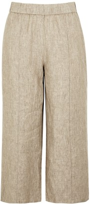 Eileen Fisher Stone wide-leg linen trousers