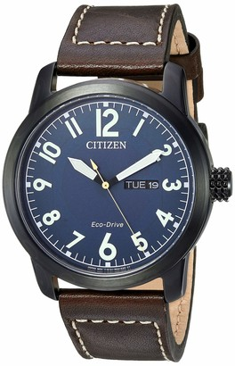 Citizen Men's Eco-Drive Stainless Steel Quartz Leather Calfskin Strap Brown Casual Watch (Model: BM8478-01L)
