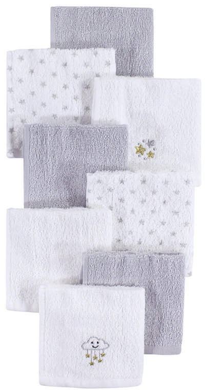 Baby Vision Hudson Baby Woven Terry Washcloths, 8-Pack, One Size