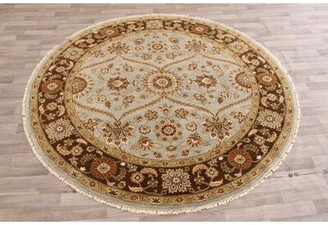 Olga Alcott Hill One-of-a-Kind Hand-Knotted Round 8' Wool Brown Area Rug Alcott Hill