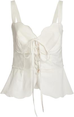 Cult Gaia Shari Tie-Detailed Cotton-Blend Top