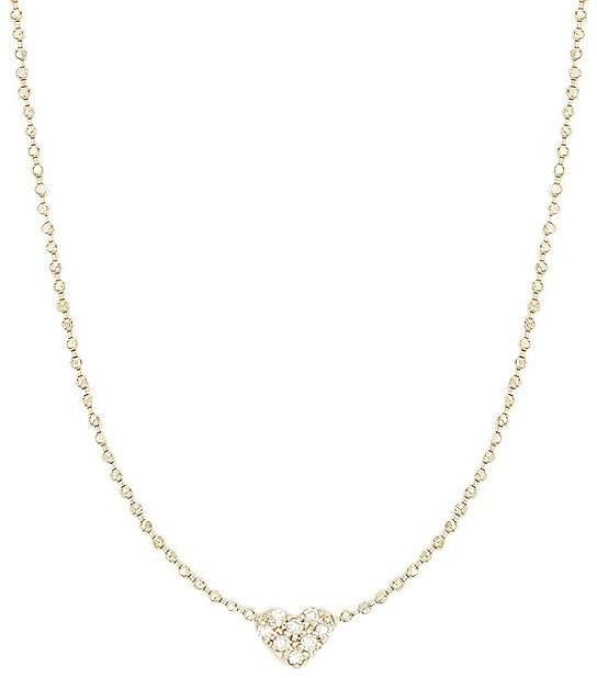 Sydney Evan 14K Pave Heart Necklace