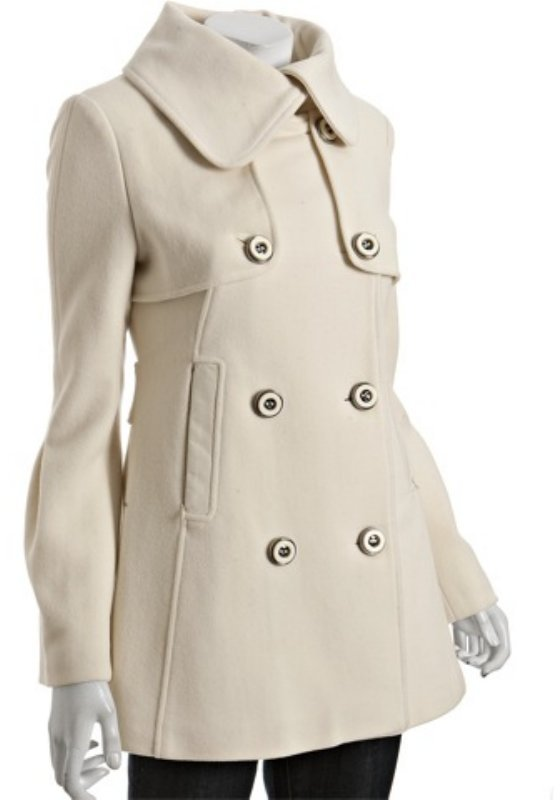 Mackage off white wool-cashmere 'Raffy' double breasted coat
