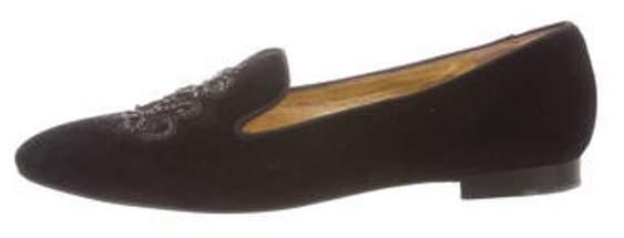 80be4ca61c Velvet Embroidered Loafers Black Velvet Embroidered Loafers