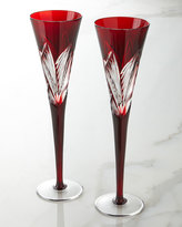 Waterford Crystal Two Times Square Ruby Flutes