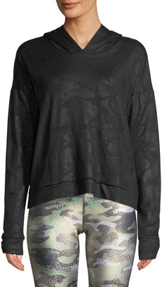 Terez Camo Foil Printed Cross-Back Hoodie Sweatshirt