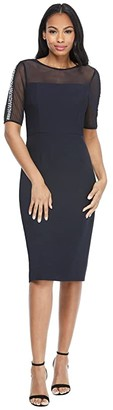 Maggy London Illusion Neck Midi with Pearl Trim (Dark Navy) Women's Dress