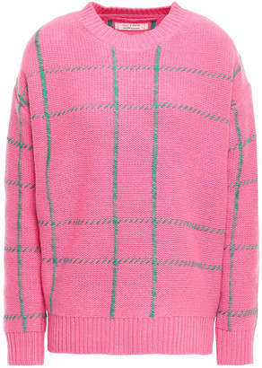 Chinti and Parker Embroidered Checked Wool Sweater