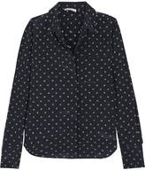 Vince Printed Silk Shirt - Midnight blue