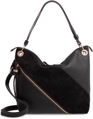 Sondra Roberts Texture Block Faux Leather Hobo