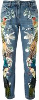 Roberto Cavalli embroidered birds jeans