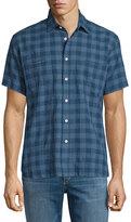 Billy Reid Plaid Short-Sleeve Linen-Blend Shirt, Navy