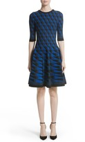 Oscar de la Renta Women's Graphic Compact Knit Fit & Flare Dress