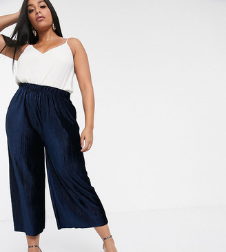 Glamorous Curve relaxed pants in plisse-Navy