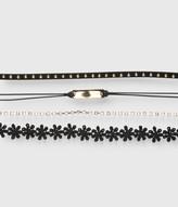 Floral Stud Choker Short-Strand Necklace 4-Pack