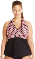 Cole of California Women's Plus-Size Sonoma Stripe Halter Tankini