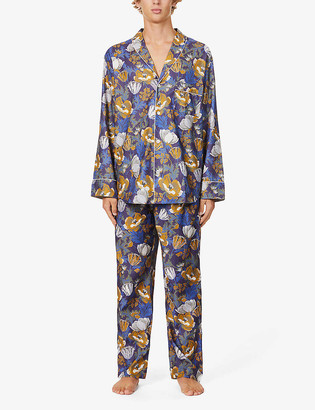 Zimmerli Floral-print shawl-collar cotton-poplin pyjama set