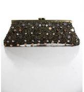 Santi Brown Bronze Tone Bead Embellished Kiss Lock Small Clutch Handbag