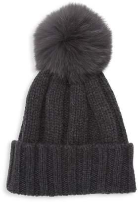 Raffaello Bettini Fox Fur Pom-Pom Cashmere Beanie