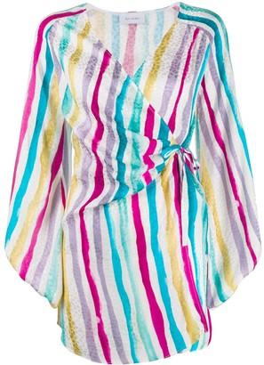 ART DEALER Striped Print Wrap Dress