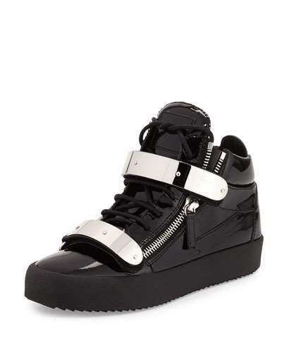 Giuseppe Zanotti Men's Double-Strap Patent Leather Mid-Top Sneakers, Black