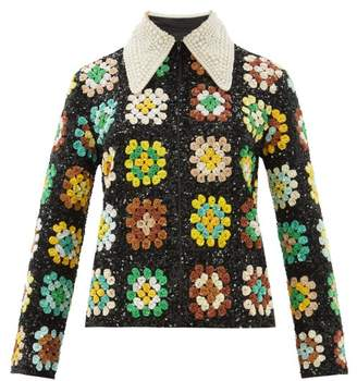 Ashish Faux-pearl Collar Sequinned Jacket - Womens - Green Multi