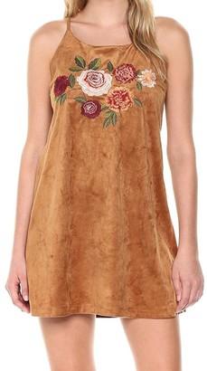 Blu Pepper Women's Sleeveless Faux Suede Dress Brown Small