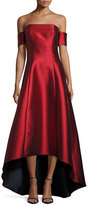 Sachin + Babi Strapless Satin High-Low Gown, Garnet