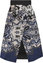 Tibi Wrap-effect printed silk-crepe skirt