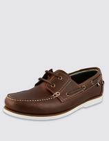 M&S Collection Leather Lace-up Boat Shoes with FreshfeetTM