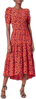 Joie Nadeen Floral Tiered Midi Dress