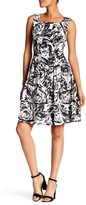 Ellen Tracy Print Stretch Fit & Flare Dress