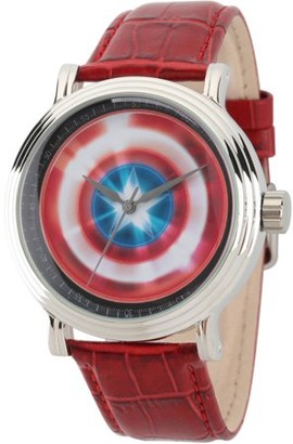 Marvel Avengers: 75th Anniversary Shields Men's Silver Vintage Alloy Watch, Red Leather Strap