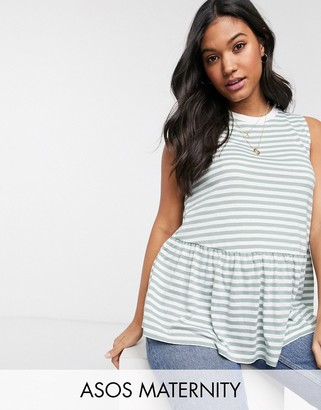 Asos DESIGN Maternity sleeveless smock top in washed stripe