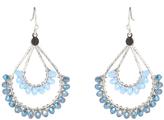 TNJHS17ER104 Faceted Bead On Dual Level Teardrop Fish Hook Earrings in Silver