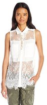 Miss Me Women's Sleeveless Colar Top with Lace