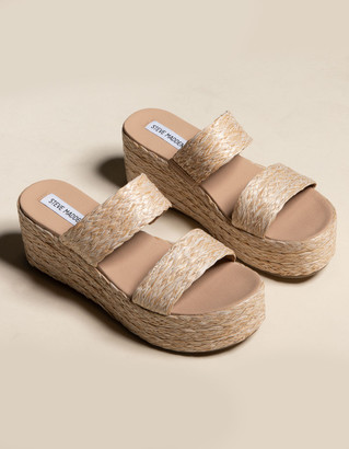 Steve Madden Jolted Raffia Womens Platform Slide Sandals