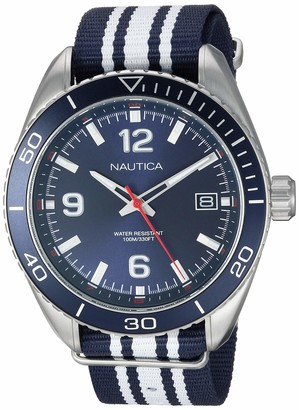 Nautica Men's 'Key Biscayne' Quartz Stainless Steel and Nylon Casual Watch