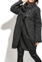 Everest Black Wool-Blend Asymmetric Cowl Neck Coat