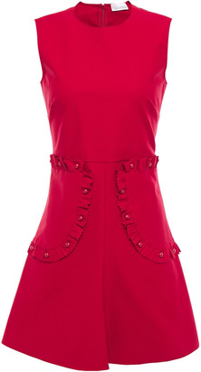 RED Valentino Flared Ruffle-trimmed Button-embellished Stretch Cotton-poplin Mini Dress
