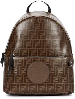 Fendi Monogrammed Coated Canvas Backpack