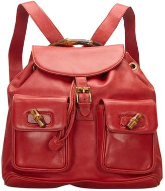 Gucci Bamboo Red Leather Bags
